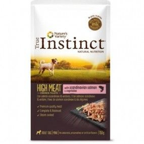 True Instinct High Meat Mini Filetes Salmón & verduras 150 gr